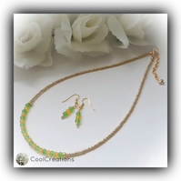 Green & Gold Dainty Contemporary Necklace with Earrings Gift Box Birthday Gift