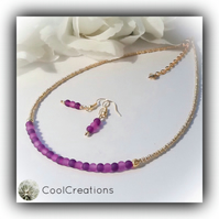 Purple & Gold Dainty Contemporary Necklace with Earrings Gift Boxed Birthday