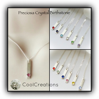 Sterling Silver Birthstone Crystal Bar Necklace Gift Boxed Birthday Mother Teen