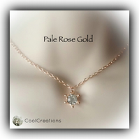 Pretty Pale Rose Gold Necklace with Crystal Charm Gift Boxed Women Gift