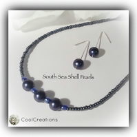 Indigo South Sea Shell Pearl Necklace with Earrings Gift Boxed Birthday Gift