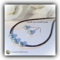 Duck Egg South Sea Shell Pearl Necklace & Earrings Gift Box Birthday Gift