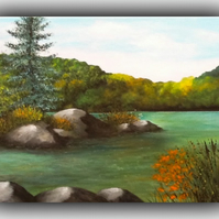 'Turquoise Lake' Original Landscape Autumn Painting Acrylic Trees Canvas Water