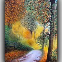 'Autumn Abundance' Original Impressionist Painting Acrylic Canvas Autumn Light