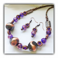 Purple & Copper Necklace with Earrings Gift Boxed Birthday Mother Gift