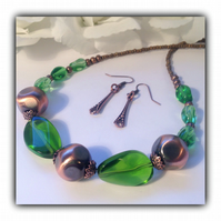 Green & Copper Necklace with Earrings Gift Boxed Birthday Ladies Gift