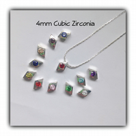 Cubic Zirconia Birthstone Charm Necklace Gift Boxed Birthday Gift