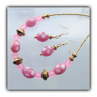 Pretty Pink & Gold Necklace with Earrings Gift Boxed Birthday Mother Gift