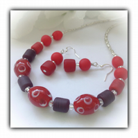 Red & Silver Chunky Necklace with Earrings Gift Boxed Birthday Gift