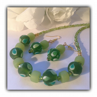 Pea Green & Gold Necklace with Earrings Gift Boxed Birthday Gift