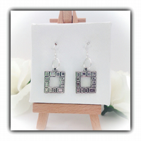 Tibetan Silver Contemporary Square Earrings Gift Boxed Birthday Gift