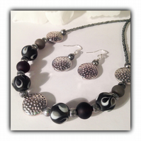Black & Silver Chunky Necklace with Earrings Gift Boxed Birthday Gift