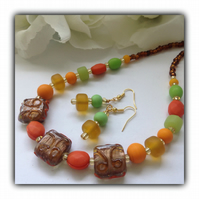 Orange Lemon & Lime Summer Necklace with Earrings Gift Boxed Birthday Gift
