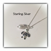 Sterling Silver Turtle & Pearl Charm Necklace Gift Boxed Birthday Women Ladies
