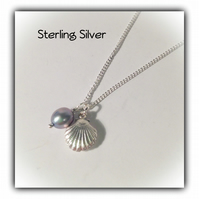 Sterling Silver Shell & Pearl Charm Necklace Gift Boxed Gift Birthday Girlfriend