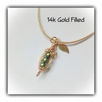 14k Gold Filled Mini Pea Pod Necklace Gift Boxed Birthday Bridesmaid Gift