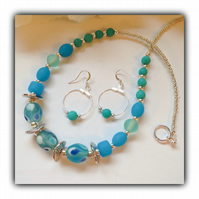 Turquoise & Silver Necklace & Earrings Gift Boxed Birthday Ladies Gift