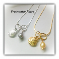 Freshwater Pearl & Silver or Gold Shell  Necklace Gift Boxed Birthday Gift