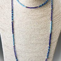 Ocean Blue Boho Summer Beach Long Necklace Gift Boxed Gift