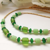 Green & Gold Double Layer Boho Summer Necklace Gift Boxed Birthday Gift