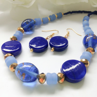 Blue & Gold Statement Necklace with Earrings Gift Boxed Birthday Gift Ladies