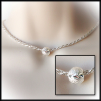 Silver Rope Chain with Engraved Charm Bead Gift Boxed Ladies Gift