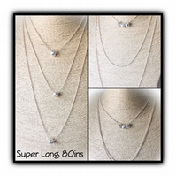 Super Long Boho Necklace with Engraved Charm Beads Gift Boxed Ladies Gift