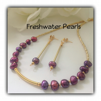 Burgundy & Gold Freshwater Pearl Necklace with Earrings Gift Boxed Gift Ladies