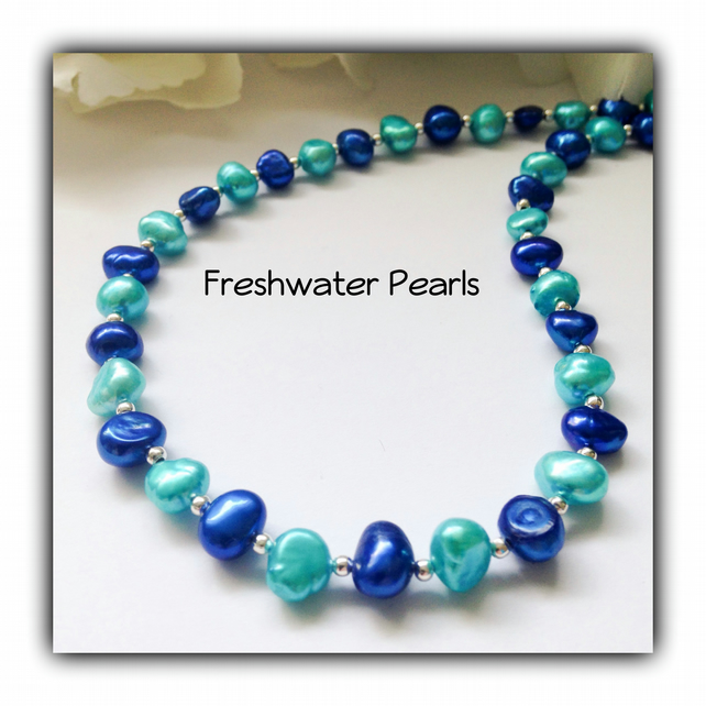 Summer Sea Turquoise Real Pearl Necklace Gift Boxed Ladies Gift