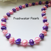 Pink & Purple Real Pearl Summer Necklace Gift Boxed Ladies Gift