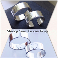 Pair of Sterling Silver Couples, Promise or Friendship Stamped Heart Rings Gift