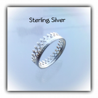 Pretty Sterling Silver Dainty Crown Ring Gift Boxed Ladies Gift Birthday Teens