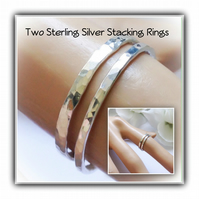 Pair of Sterling Silver Hammered Stacking Rings Gift Boxed Ladies Gift Birthday