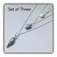 Triple Layered Silver Necklace Set Gift Boxed Ladies Teens Gift