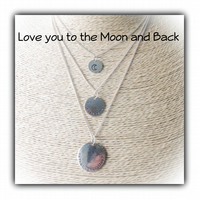 Triple Layered 'I Love you to the Moon and Back' Necklace Set Gift Boxed Gift
