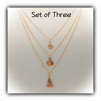 Triple Layered Gold Necklace Set Gift Boxed Ladies Teens Gift