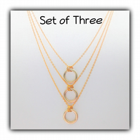 Triple Layered Gold Necklace Gift Boxed Teens Ladies Gift