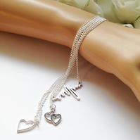 Set of 3 Layered Heartbeat Silver Charm Necklaces Gift Boxed Ladies Teens Gift