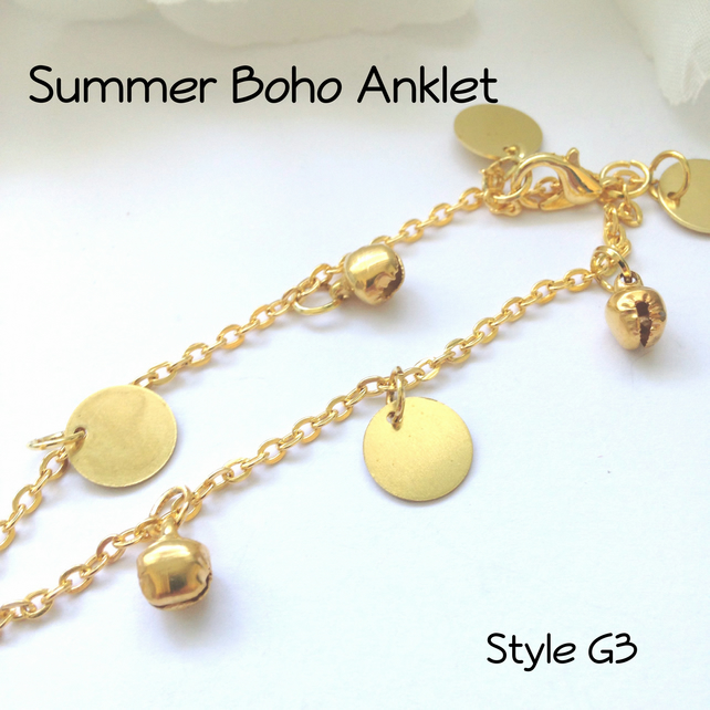 Gold Boho Anklet Beach Jewellery Ankle Bracelet Gift Boxed Ladies G3