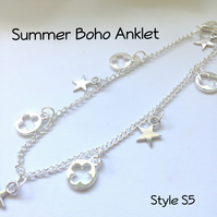 Silver Boho Anklet Ankle Jewellery Beach Ladies Teens Gift - S5