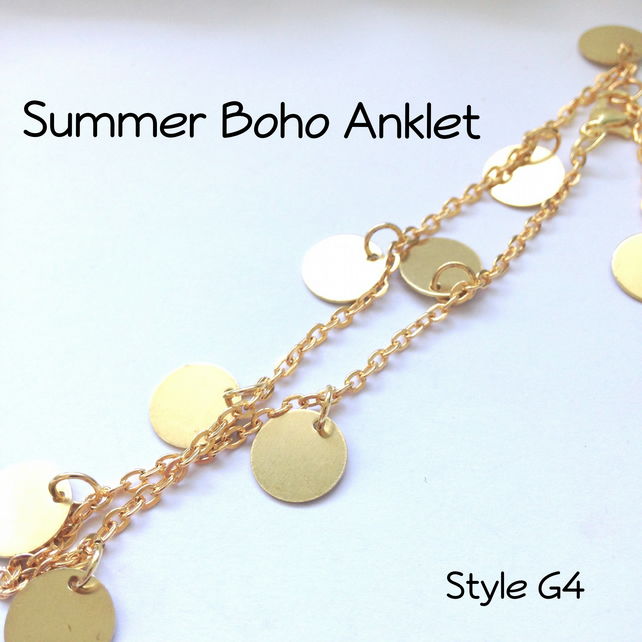Gold Boho Anklet Beach Summer Body Jewellery Gift Boxed Ladies Teens - G4
