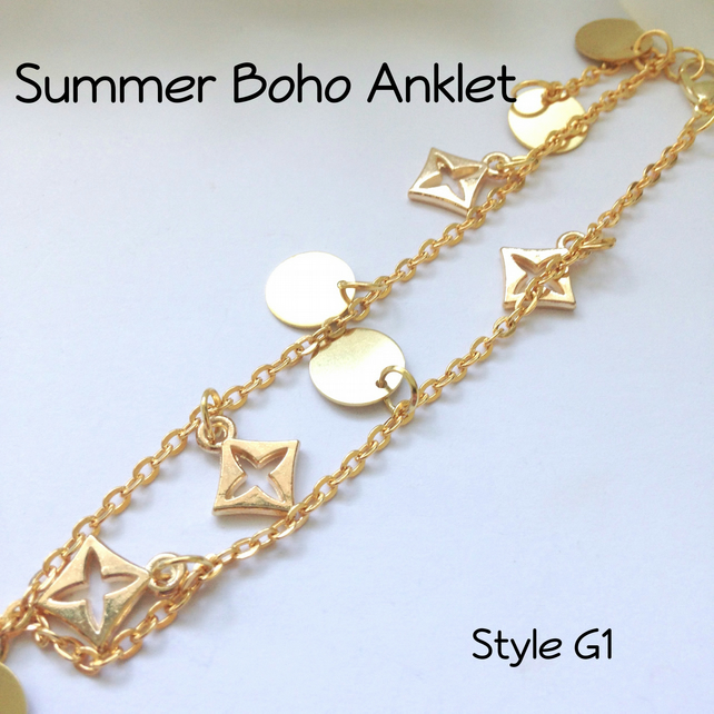 Gold Boho Anklet Ankle Body Jewellery Beach Summer Ladies Gift Boxed Gift - G1