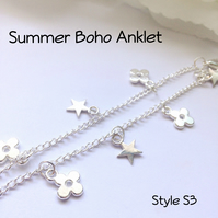 Silver Anklet Ankle Body Jewellery Boho Beach Gift Boxed Ladies Teens Gift - S3