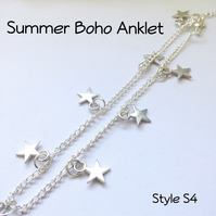 Silver Boho Anklet Ankle Bracelet Beach Gift Boxed Ladies Teens Gift - S4