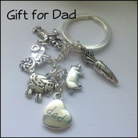 Gift for Dad Farm Themed Keyring Gift Boxed Birthday Father Dad Christmas