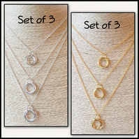 Triple Layered Necklace Sets in Gold or Silver Gift Boxed Ladies Teens Birthday