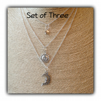 Set of Three Boho Sun Moon Stars Necklaces Gift Boxed Ladies Gift