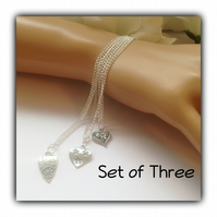 Set of Three Layered Boho Hearts Necklaces Gift Boxed Teens Girlfriend Gift