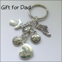 Gift for Dad Football Theme Keyring Gift Boxed Father's Day Birthday Gift