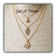 Set of 3 Layered Gold Plated Charm Necklaces Gift Boxed Birthday Teens Gift